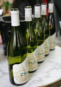 Chablis bottles in a row